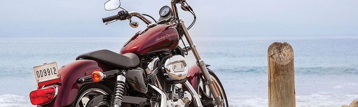 Red Harley-Davidson® bike parked on a boardwalk with ocean behind.